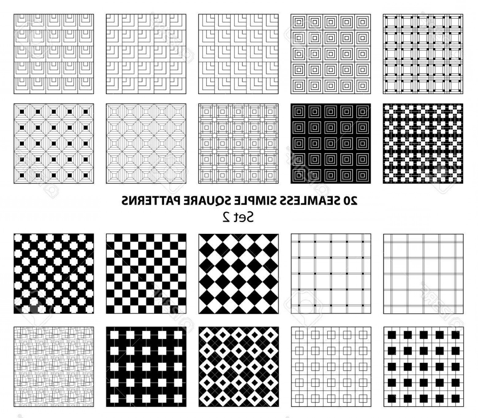 1560x1364 Photostock Vector Set Of Seamless Simple Square Patterns Black