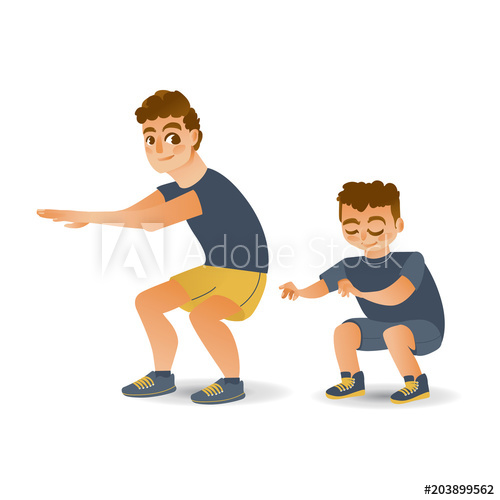 500x500 Cartoon Young Kid Boy And Adult Man In Athletic Clothing Doing