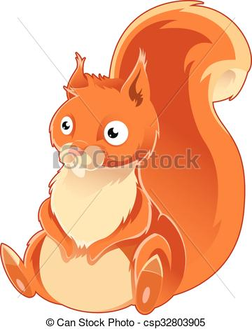 360x470 Cartoon Orange Squirrel. Vector Image Of A Cartoon Orange Squirrel.