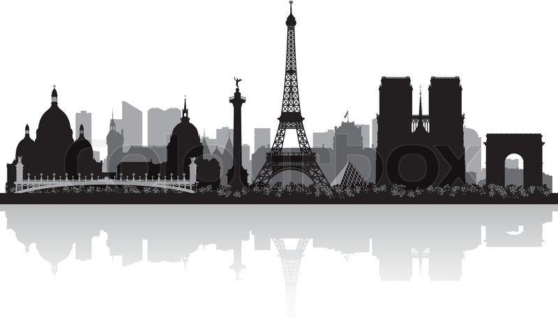 800x469 Paris France City Skyline Vector Silhouette Illustration Stock
