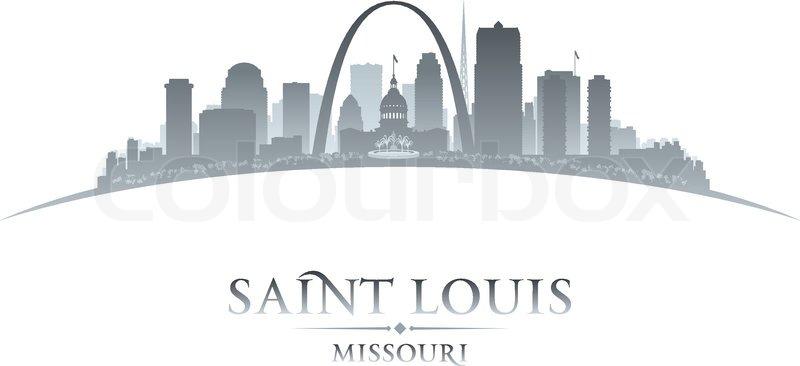 800x366 Saint Louis Missouri City Skyline Silhouette. Vector Illustration