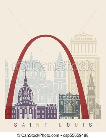 359x470 Saint Louis Poster. Saint Louis Skyline Poster In Editable Vector
