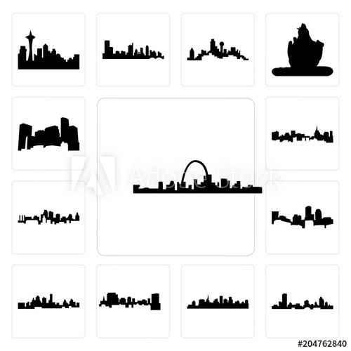 500x500 Set Of St Louis Skyline, Wisconsin, Paul Skyline On White
