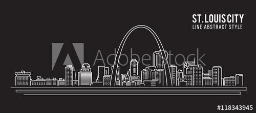 500x222 Cityscape Building Line Art Vector Illustration Design