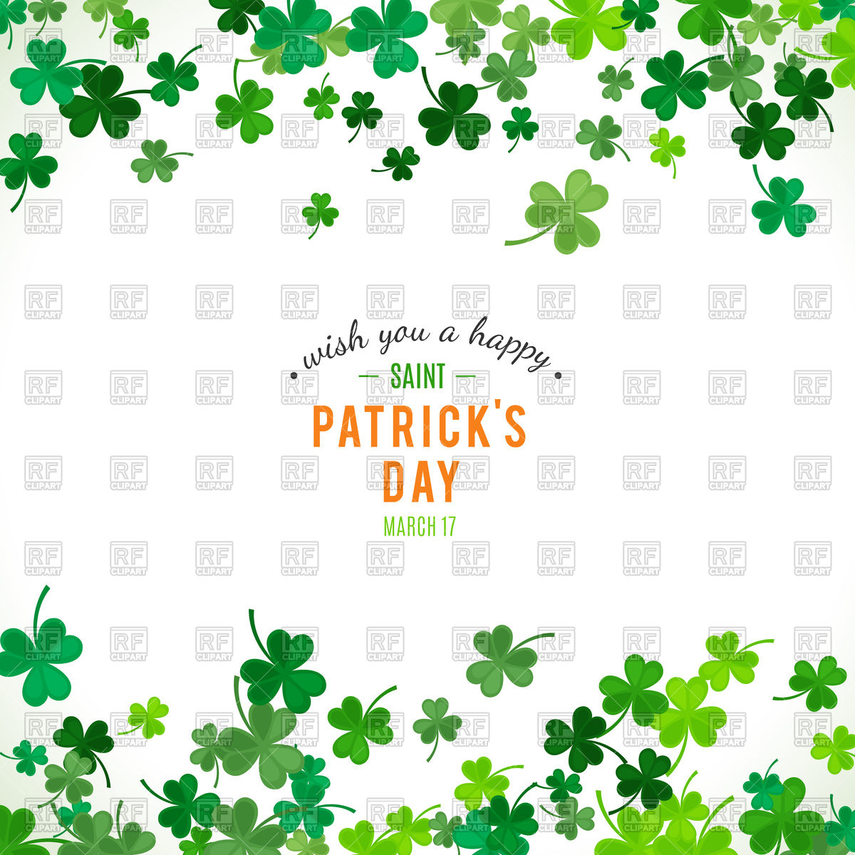 1200x1200 St. Patricks Day Background With Clover Leaves Vector Image
