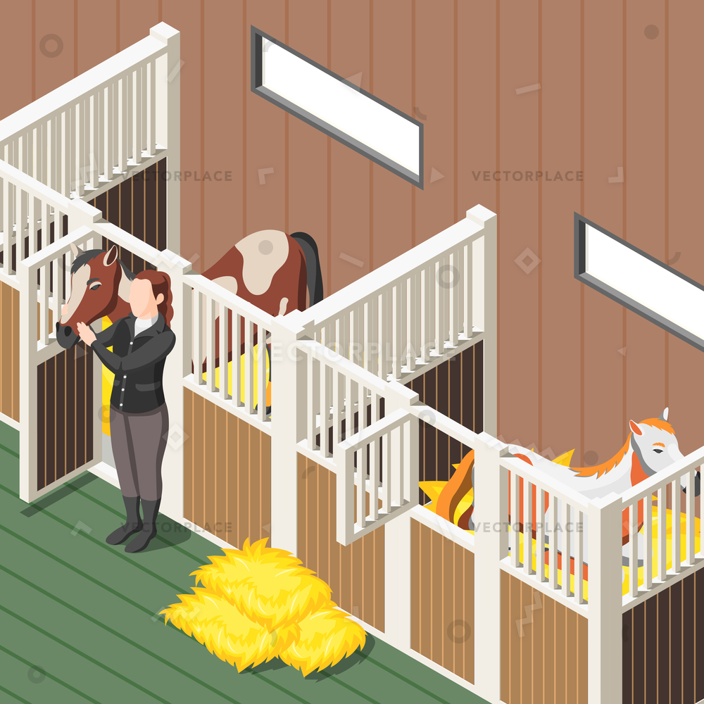 1000x1000 Horse Stable Interior Isometric Background Horses Vector