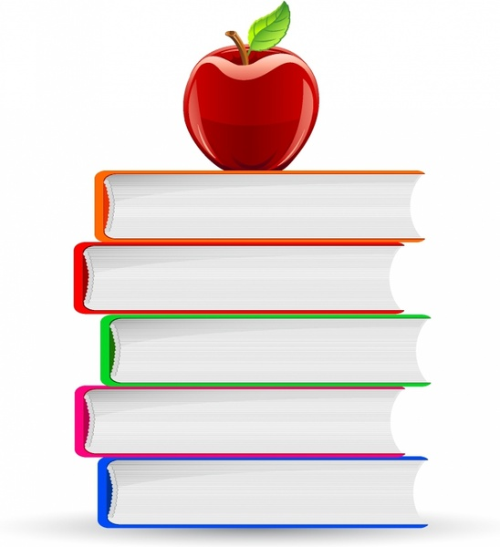 548x600 Stack Of Book And Red Apple Free Vector In Adobe Illustrator Ai