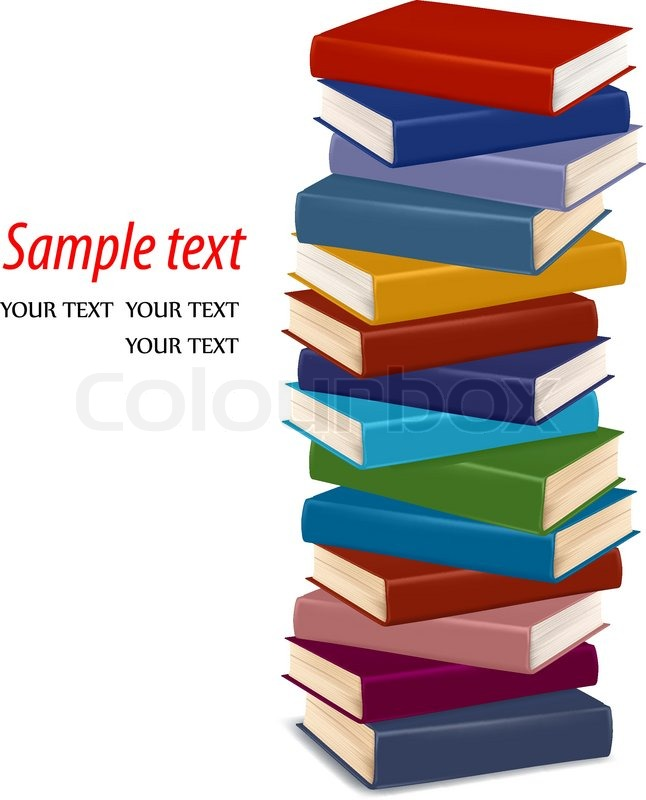 646x800 Stack Of Colorful Books. Vector Stock Vector Colourbox