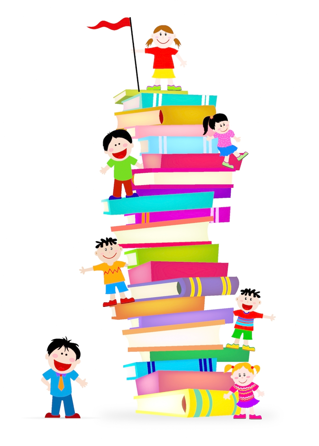 1024x1433 The Children Climb Up A Pile Of Books Free Download Ai Files
