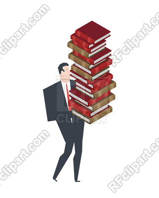 322x400 Businessman Carry Stack Of Books Vector Image Vector Artwork Of