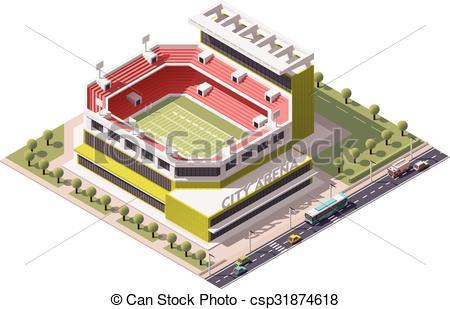 450x309 Vector Isometric Stadium. Isometric Icon Representing American