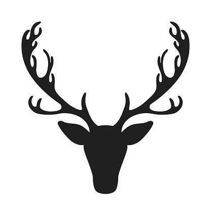 416x416 Deer Head Vector Illustration Isolated Elk Silhouette Stock