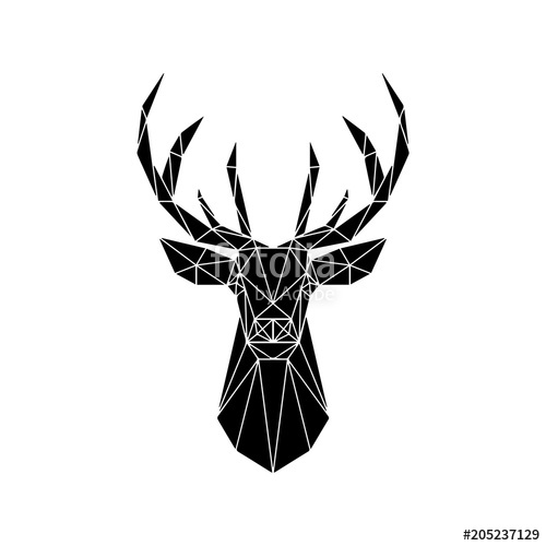 500x500 Deer Head Geometric Lines Silhouette Stock Image And Royalty Free