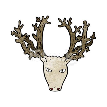 440x440 Cartoon Stag Head Stock Vector