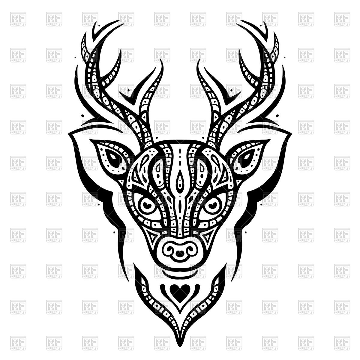 1200x1200 Deer Head With Tribal Ethnic Ornament Vector Image Vector