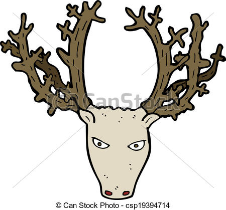 450x419 Cartoon Stag Head Vector Clip Art