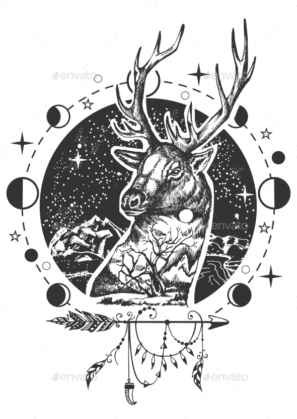 590x834 Vector Deer Head Tattoo Or T Shirt Print Design By Siberianart