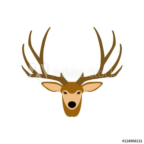 500x500 Deer Head Vector Illustration Style Flat