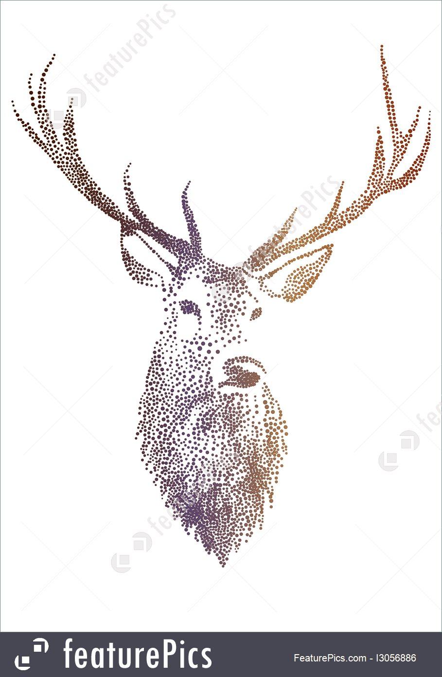 909x1392 Deer Head, Vector