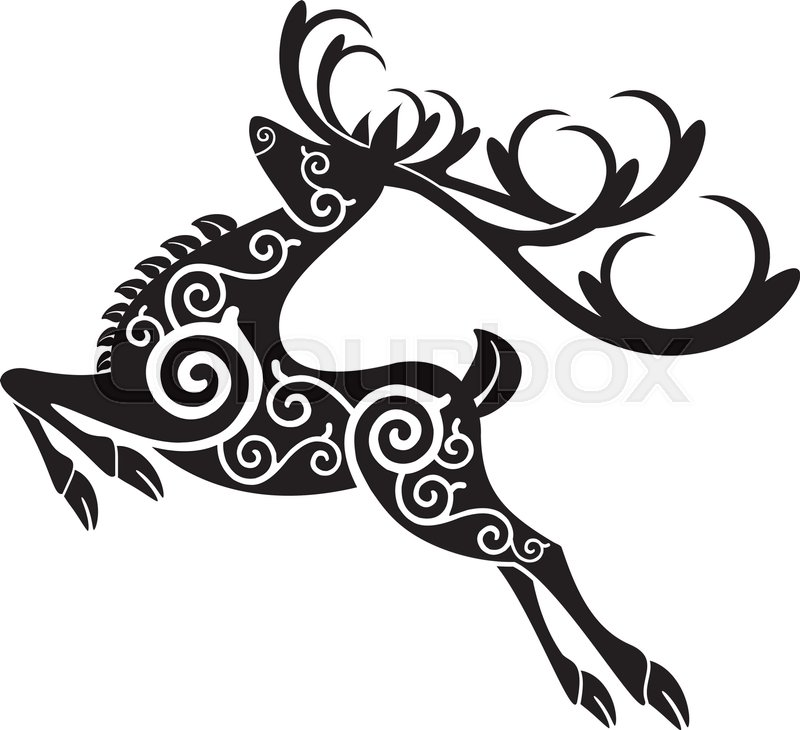 800x730 Tribal Red Deer Stag Stock Vector Colourbox