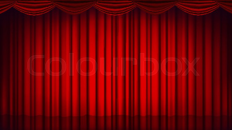 800x450 Red Theater Curtain Vector. Theater, Opera Or Cinema Empty Silk