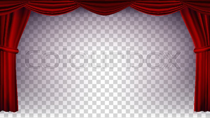 800x450 Red Theater Curtain Vector. Transparent Background. Poster For