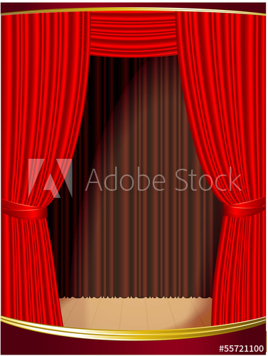 377x500 Red Stage Curtain. Vector.