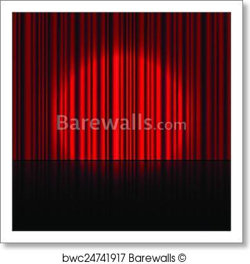 362x382 Art Print Of Spotlight On Stage Curtain. Vector. Barewalls