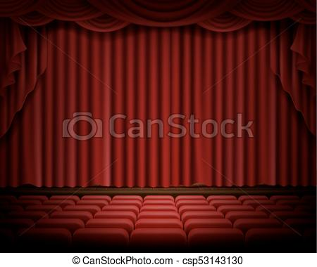 450x380 Stage Curtain Realistic Vector. Open Red Stage Curtain Realistic