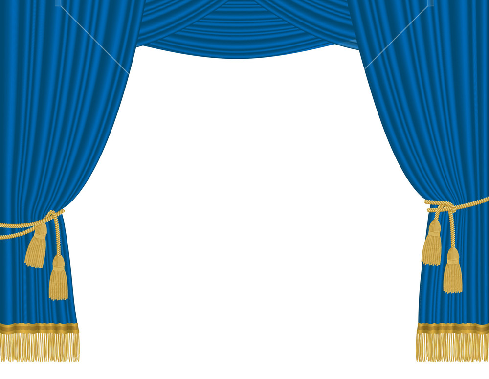 1000x775 Blue Curtain. Vector. Royalty Free Stock Image