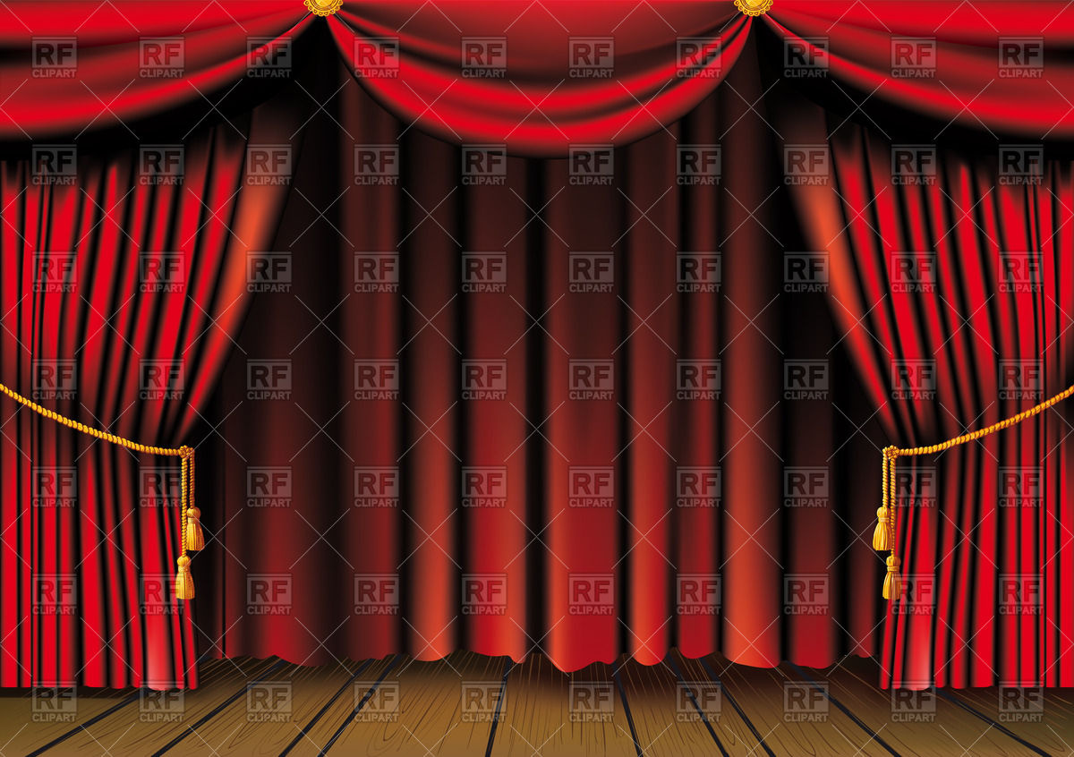 1200x846 Theater Wooden Stage With Red Curtains With Tassels Vector Image