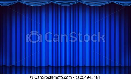 450x273 Blue Theater Curtain Vector. Theater, Opera Or Cinema Empty Silk