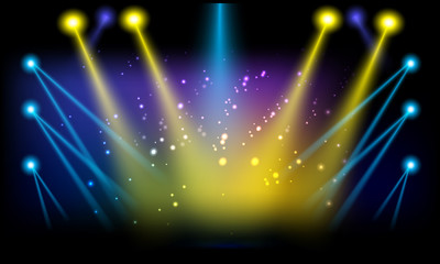 400x240 Stage Lights. Vector Illustration