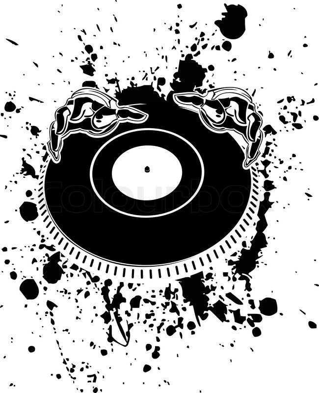 650x800 Black And White Dj Hands On Stain. Stock Vector Colourbox