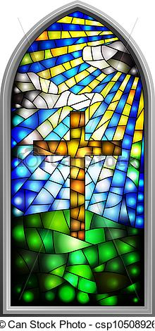 220x470 Stained Glass Window. Vector Illustration Of A Stained Glass Window.