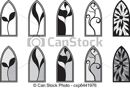 450x307 Stained Glass Windows. Vector Art Depicting Isolated Stained Glass
