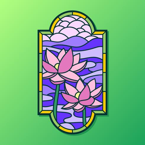 490x490 Lotus Stained Glass Window Vector
