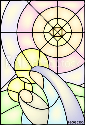 343x500 Mother Mary With Jesus Christ In Stained Glass Window, Vector