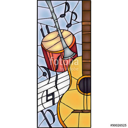 500x500 Musical Instruments Stained Glass Window, Vector Stock Image And