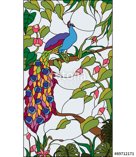 433x500 Peacock In The Garden With Flowers, Stained Glass Window, Vector