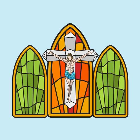 490x490 Stained Glass Window Vector Illustration