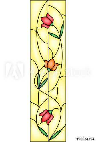 336x500 Tulip, Stained Glass Window, Vector
