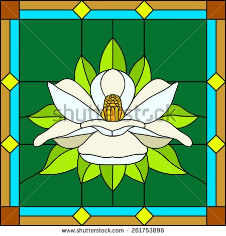450x470 Vector Illustration Lotus, Water Lily, Magnolia In Stained Glass