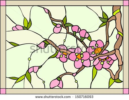 450x350 Violets, Magnolia, Cherry Stained Glass Window Stock Vector