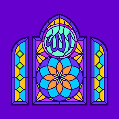 490x490 Allah Stained Glass Window Vector