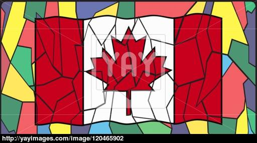 512x285 Canadian Flag On Stained Glass Window Vector
