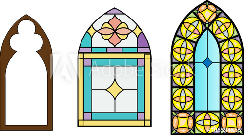 500x277 Church Stained Glass Windows, Vector Illustration In Color And