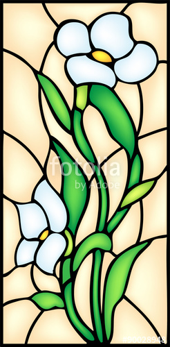 246x500 Garden Flowers Blossom. Stained Glass Window, Vector Stock