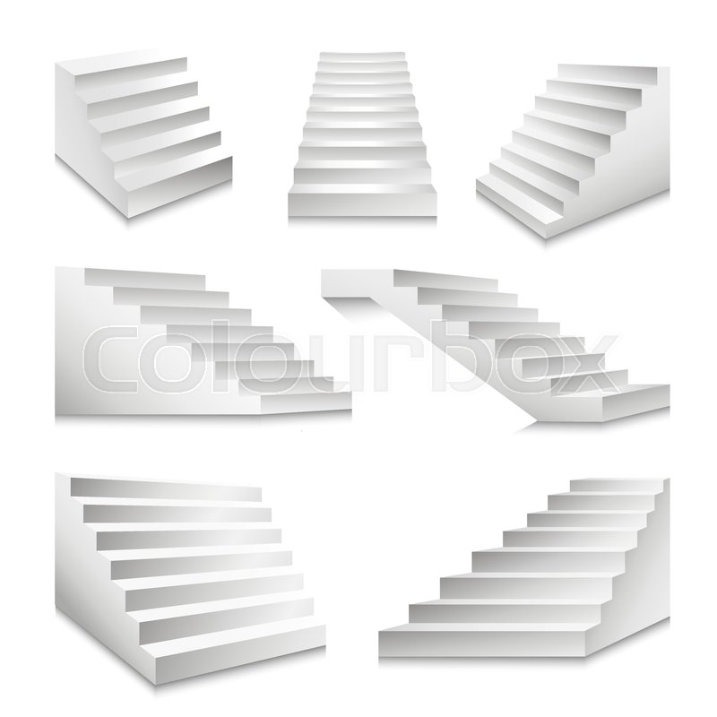 800x800 Stairs Or Staircases And Podium Ladders. Vector 3d Isolated White