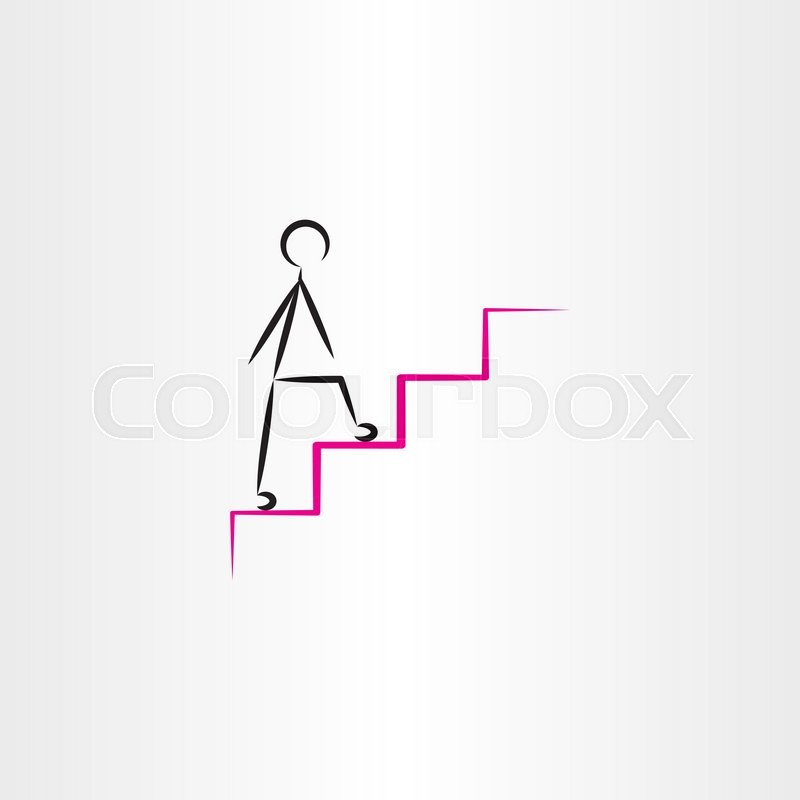 800x800 Man Climbing Stairs Vector Icon Design Element Stock Vector